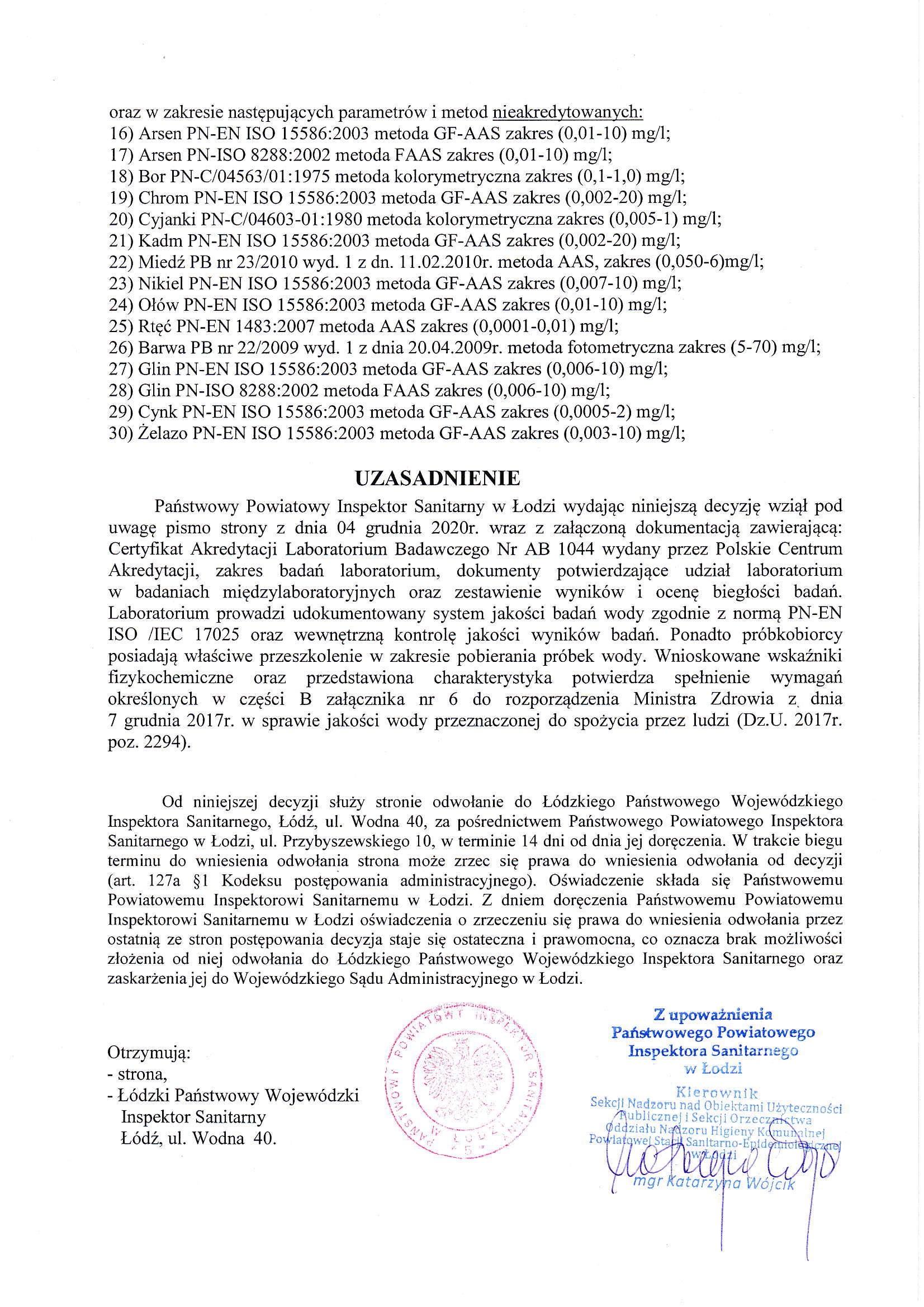 Zatwierdzenie Państwowego Powiatowego Inspektora Sanitarnego